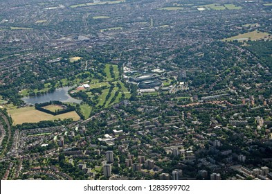 Aerial view from the north of the Wimbledon district of South London with the famous grounds of the All England Lawn Tennis Club in  the centre.
