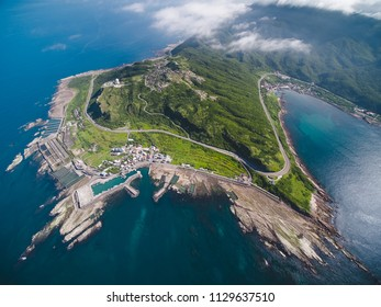 Aerial View of Northeast Cape - Northeast and Yilan Coast National Scenic Area. Coast landscape birds eye top view use the drone, shot in Gongliao District, New Taipei, Taiwan.