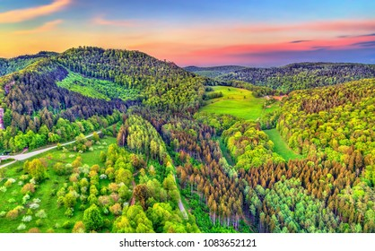 Aerial view of the Northen Vosges Mountains at sunset - Bas-Rhin department of France