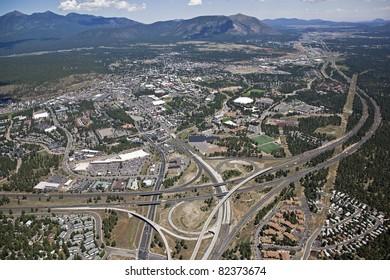 Aerial view of Northern Arizona University and Flagstaff, Arizona