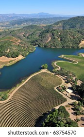 aerial view of northern california vineyards