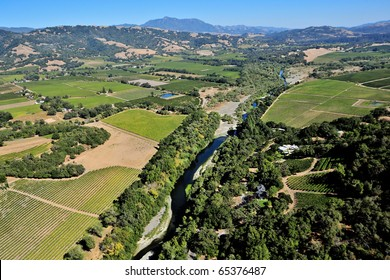 aerial view of northern california wine country near sonoma county
