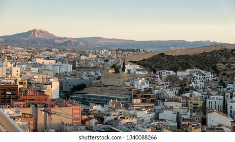 aerial view of the northern part of the city of Alicante, in Spain, at dawn