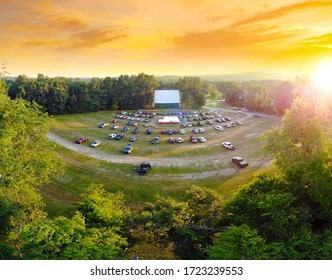 Aerial view of Northfield Drive-In Movie Theater at Sunset - Shutterstock ID 1723239553