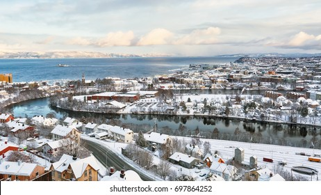 Aerial view of the norwegian city Trondheim in the winter