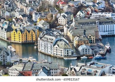 Aerial view of the norwegian town Aalesund