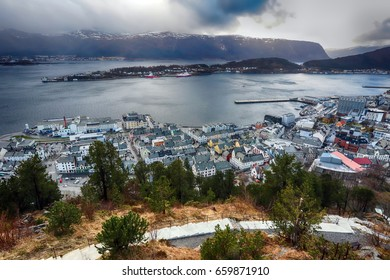 Aerial view of the norwegian town aalesund just after storm
