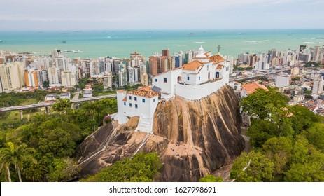 Aerial view of Nossa Senhora da Penha convent and town of Vila Velha - Espírito Santo state – Brazil