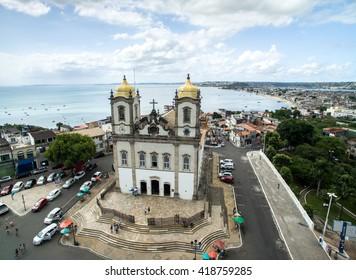 Aerial View of Nosso Senhor do Bonfim da Bahia church in Salvador Bahia Brazil