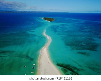 Aerial view of Nosy Iranja , Madagascar north , a wonderful sand strip of Indian Ocean, with a blue sea and white sand