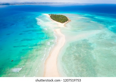 Aerial view of Nosy Iranja with a turquoise sea and white sand, north of nosy be, a beautiful island in madascar, africa