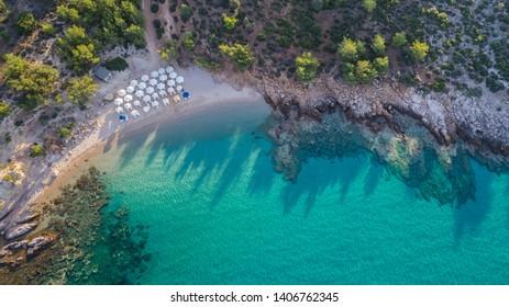 aerial view of Notos beach. Thassos island, Greece