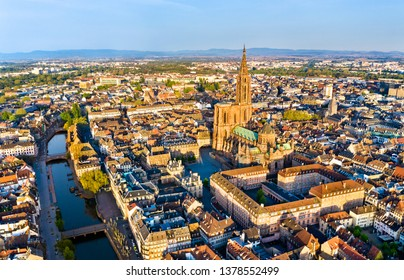 Aerial view of the Notre-Dame Cathedral of Strasbourg - Alsace, France