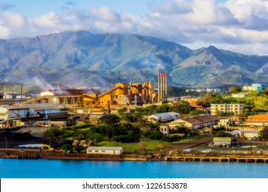 Aerial view from Noumea, here a nickel factory, New Caledonia