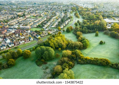 Aerial view of  the now disused par 3 golf course at Moredon in Swindon, Wiltshire - Shutterstock ID 1543875422