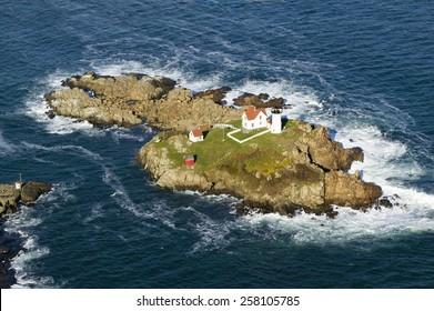 Aerial view of Nubble Lighthouse, Cape Neddick, Maine