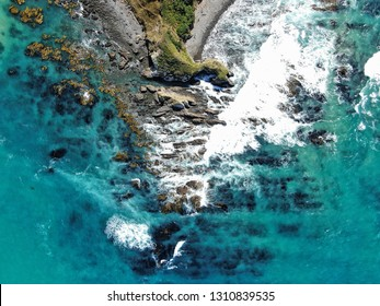 aerial view of nugget point shore near Kaka Point in southern New Zealand
