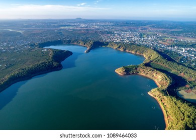 Aerial view of  To Nung lake or T'nung lake near  Pleiku city, Gia Lai province, Vietnam. To Nung lake or T'nung lake on the lava background of a volcano that has stopped working