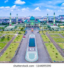 Aerial View of An Nur Great Mosque Pekanbaru with Blue sky