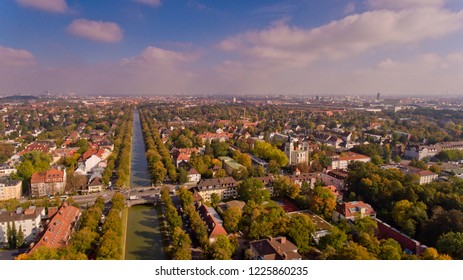 Aerial view of the Nymphenburg kanal.