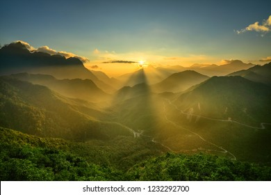 Aerial view of O Quy Ho pass from Sapa, Lao Cai to Lai Chau, Vietnam. O Quy Ho is one of the top 4 pass in Vietnam.