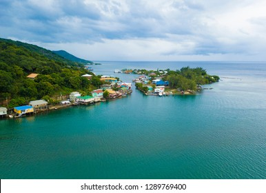 Aerial view of Oak, Ridge, the Venice of the Caribbean, in Roatan, Honduras.