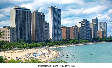 Aerial view of Oak Street Beach Park in downtown Chicago, on Lake Michigan.
