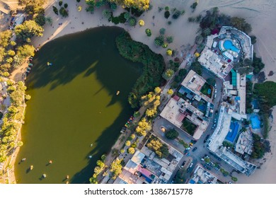 Aerial view of the Oasis of the Huacachina, Ica Peru.