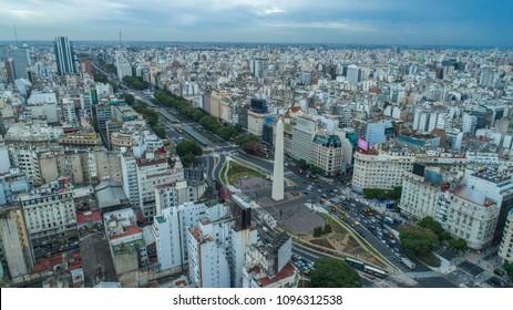 Aerial view of Obelisco de Buenos Aires (Obelisk), historic monument, in the Plaza de la Republica at avenues 9 de Julio, Buenos Aires - Argentina.
