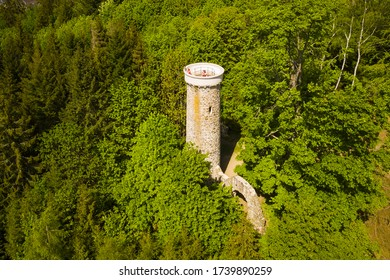 Aerial view of observation tower Hamelika near Marianske Lazne. Popular tourist destination in West Bohemia, Czech republic, European union. - Shutterstock ID 1739890259