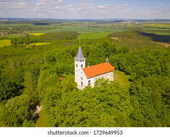 Aerial view of observation tower on Krizovy vrch. Popular tourist destination and old pilgrimage place in West Bohemia, Czech republic, European union.
