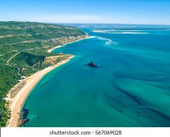 Aerial View Ocean Coastal Landscape of Nature Park Arrabida in Setubal, Portugal