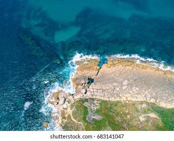 Aerial View Ocean Coastal Landscape, Portugal