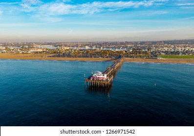 Aerial view of an ocean pier in Newport Beach, Orange County, California