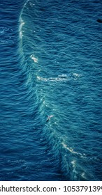 Aerial view of ocean and wave