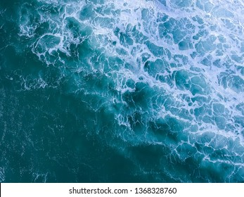 Aerial view of ocean with waves. Drone photo