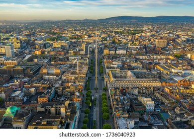 Aerial view of O'Connell Street in Dublin City, Ireland.