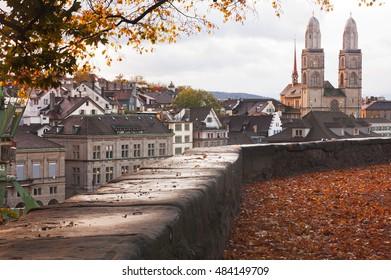 Aerial view od Grossmunster church in in Zurich; Switzerland in autumn
