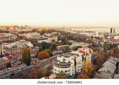aerial view to Odessa, roofs, port and sea at sunset or sunrise