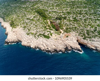 Aerial view at Odysseus cave on Mljet island