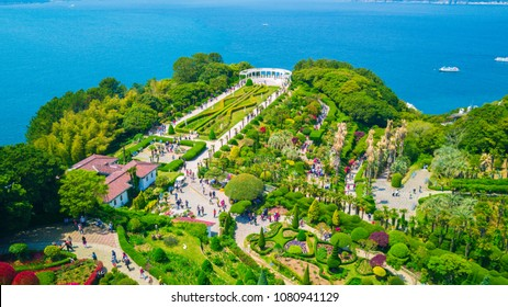Aerial view of Oedo-Botania island, garden scenery at summer day in Geoje island, South Korea.