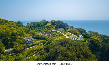 Aerial view of Oedo-Botania island, garden scenery at summer day in Geoje island, South Korea.