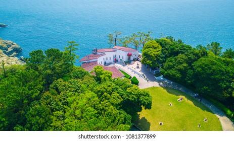 Aerial view of Oedo-Botania island, garden scenery at summer day in Geoje, South Korea. Beautiful island in South Korea.