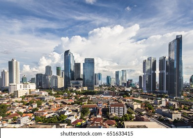 Aerial view of office buildings in the South Central Business district of Jakarta in Indonesia capital city