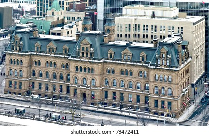 Aerial view of the Office of the Prime Minister of Canada. The Langevin Block.