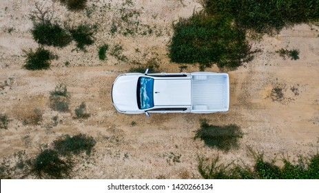 Aerial view  off-road car vehicle, car 4 wheel drives off-road.