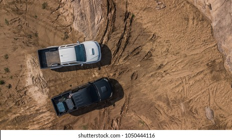 Aerial view of off-road car vehicles, Outdoor motor sport 4x4 travel.