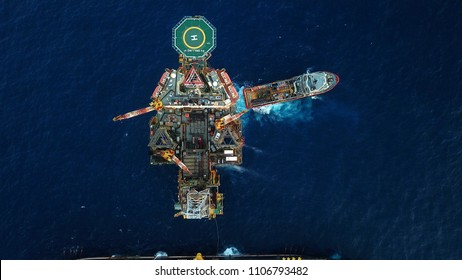 Aerial view of a offshore platform. Also known as an oil platform or offshore drilling rig is facilities to explore and process petroleum and natural gas.