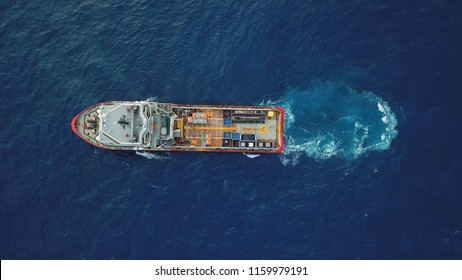Aerial view of a offshore vessel or barge. The vessel is to support and assist subsea development activity offshore.