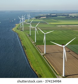 Aerial view of offshore wind turbine farm in along the Volkerak, The Netherlands.